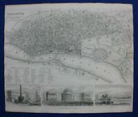CALCUTTA CITY PLAN, KOLKATA, INDIA, original antique map, SDUK, 1844