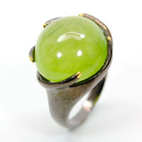 Natural Prehnite 925 Sterling Silver Ring Size 7.5/RS18-0099