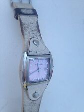 AUTHENTIC LADIES  DISTRESSED WHITE LEATHER STRAP F2 FOSSIL WATCH