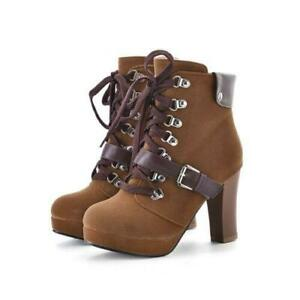 Retro Buckle Lace Up Platform Ankle Boots Women High Heels Round Toe Shoes
