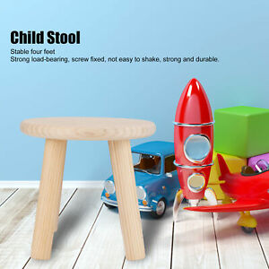 Cute Round Wood Color Childs Brown Wood Wooden Stool Seat Household Furniture