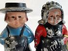 Vtg Amish Primitive Couple Pair Still Banks Piggy Banks Americana