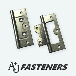 """2 x FLUSH HINGE SILVER ZINC DOOR  1.1/2"""", 2"""", 2 1/2"""", 3""""  CABINET 40/50/60/75mm"""