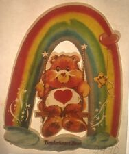 Vintage 70s Care Bears Tenderheart Bear Iron-On Transfer Swinging On A Rainbow!!