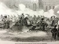1856 Antique Print Russian Cavalry Parade Royal St Petersburg Winter Palace