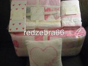 Pottery Barn Kids Heart Crib Quilt Bumper Sheet Skirt Love Pillow Set 5-pc Pink