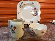 Vintage English Art Deco 1930's Royal Doulton Cake Plate Sugar Bowl Milk Jug