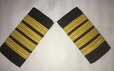 AIRLINE PILOT CAPTAIN EPAULETTES SLIDERS 4 BAR BLACK & GOLD - 1 PAIR