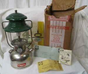 Coleman Single Mantle Lantern 202 6/54 ceramic burner sunburst globe w/ box