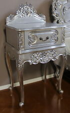 French Rococo Bedside Table With 1 Drawer Silver Bs024s