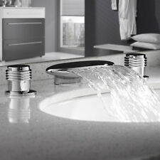 3 Loch Waschtischmischer Waschbecken Armatur Wasserhahn Mischbatterie Wasserfall