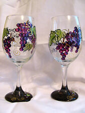 """Grape Clusters Hand Painted """"DRINKS WELL WITH OTHERS""""  Wine Glass"""