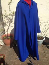 oversized royal blue pointy  hooded cloak with sleeves.  long version wizard