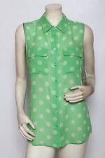 EQUIPMENT Green Polka Dot NORDSTROM Slim Signature Irish Blouse Top - size M