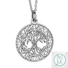 Unisex Tree of Life Charm 925 Sterling Silver Pendant Necklace With Chain 18''