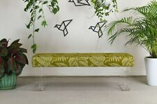 Waterfall Cadmium Green Bench On Lucite Legs, Floral Bench, Lucite Bench