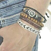 Bracciale da uomo in pelle cuoio set 4 braccialetti con metallo corda legno fili