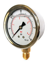 Hydraulic Pressure Gauge Glycerine Filled 0/60 PSI & 0/4 Bar 63mm Dial 1/4 BSP