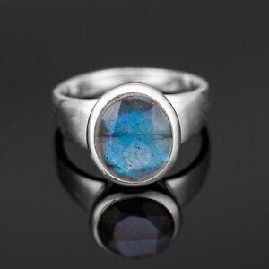 Cut Labradorite 925 Stamped Sterling Silver Ladies Round Gemstone Ring Gift Box