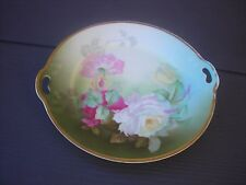 """Thomas Bavaria 10""""  X 10""""  Platter, Antique Gold, Pink Yellow Roses Hand Painted"""