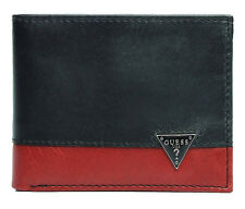 NIB GUESS MEN'S BLACK LEATHER PASSCASE DOUBLE-BIFOLD WALLET, BLACK