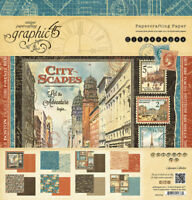 Graphic 45 G45 Cityscape 12x12 Paper Pad Travel International Postage stamps