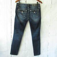 Miss Me Jeans 27 Signature Skinny Rhinestone Faux Flap Pocket Dark Ankle Crop