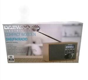 Daewoo Digital DAB FM Radio Alarm Clock Auto Scan Mains Portable Travel Wooden