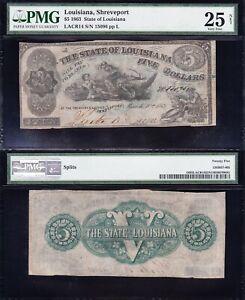 Nice SCARCE Bold VF 1863 $5 SHREVEPORT, LA State of Louisiana Obsolete PMG 25/n!