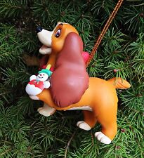Walt Disney Grolier Lady And The Tramp Snowman Christmas Tree Ornament NEW