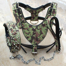 Camo Leather Spiked Studded Dog HARNESS COLLAR LEASH SET Pit bull Heavy Duty