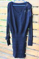 Women ladies Black Knit Lace Tighten up Slim Clubwear Cocktail Mini Tunic Dress