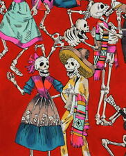 Alexander Henry Folklorico Fiesta De Los Muertos Feast of the Dead Red Fabric