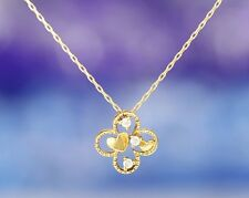10K Solid Gold Genuine Diamond .03 Carat Flower with Hearts Pendant and Chain