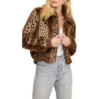 ASTR the Label Womens Remy Brown Faux Fur Bomber Jacket Coat M BHFO 7392