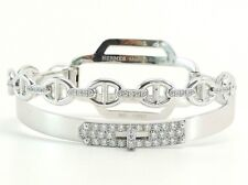 Authentic Diamond  Hermes Kelly Double Tour Bracelet 18kt Gold.