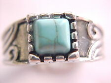 Beautiful genuine turquoise ring, silver plate, size 6-1/2, stone 6 x 6 mm.