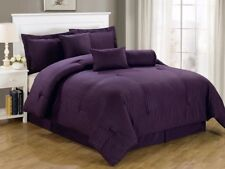 Chezmoi Collection 7-Piece Hotel Solid Dobby Stripe Comforter Set Queen, Purple