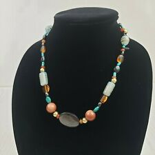 Art Glass Bead Necklace Blue Brown Multi Shape Lobster Clasp Jewelry