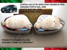 COPPIA CALOTTE SPECCHIO CROMATE FIAT GRANDE PUNTO / EVO STEMMA LOGO RETROVISOR