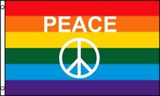 3x5 Peace Symbol Letters Rainbow Gay Pride Flag 3'x5' Brass Grommets