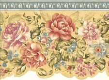 Wallpaper Border Country Floral Die Cut Border On Yellow with Blue Trim