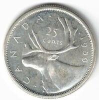 CANADA 1959 25 CENTS QUARTER QUEEN ELIZABETH II CANADIAN SILVER COIN