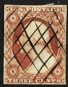 Sc #10/11 4 Margin Shades Pen Cancel 3 Cent Washington 1851-671 US 8A66