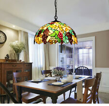 Makenier Vintage Tiffany Style Stained Glass Grape 16 Inch Ceiling Pendant Light