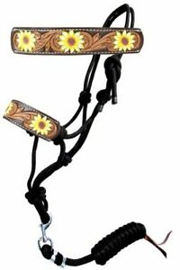 Showman Hand Painted Sunflower Rope Halter w/ Leather Noseband & Lead Rope