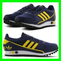 Adidas LA Trainer Mens Size 7-11 UK Sneaker Shoes Leather Navy Yellow Trainers