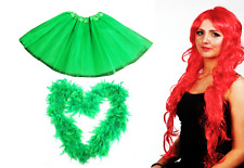 Poison Ivy Fancy Dress Costume Set Long Red Wig Green TUTU Luxury Feather Boa