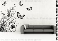 Butterfly Pattern Spiral Wall Sticker Wall Art Mural Transfer Decal Stencil