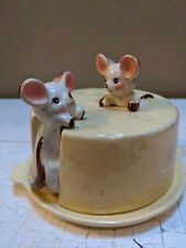 Vintage Mouse Cheese Covered Dish, Retro, Japan, Handpainted, Minuscule Flaws
